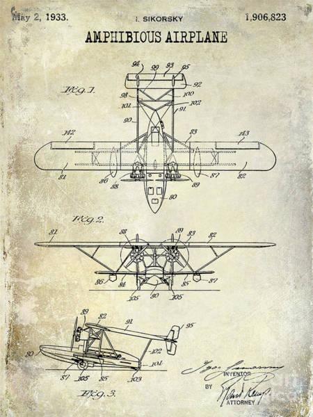 Vintage Airplane Photograph - 1933 Amphibious Airplane  Patent Drawing by Jon Neidert