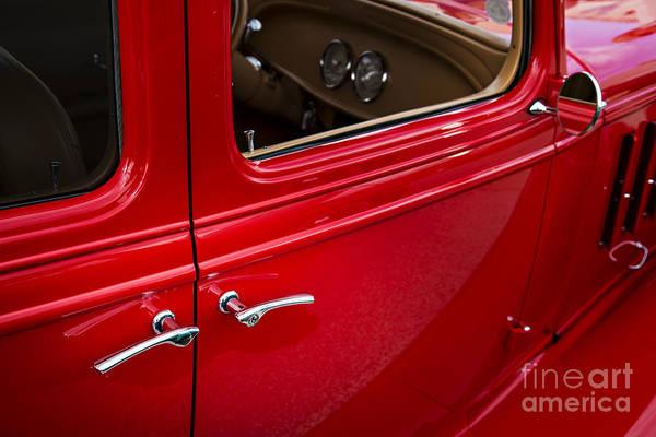 Photograph - 1933 Chevrolet Chevy Sedan Classic Car Door Handle In Color 3170 by M K Miller