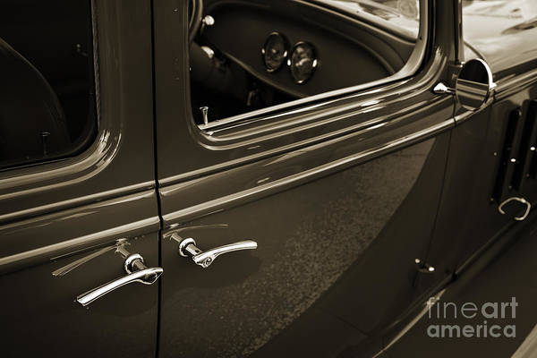 Photograph - 1933 Chevrolet Chevy Sedan Classic Car Door Handle In Sepia 3170 by M K Miller