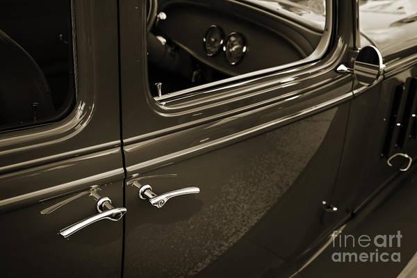 Photograph - 1933 Chevrolet Chevy Sedan Classic Car Door Handle In Sepia 3170 by M K Miller