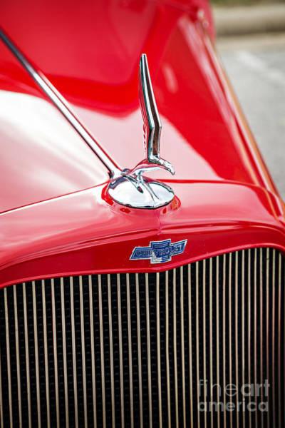 Photograph - 1933 Chevrolet Chevy Sedan Classic Car Emblem In Color 3166.02 by M K Miller