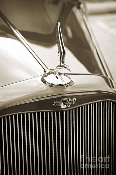 Photograph - 1933 Chevrolet Chevy Sedan Classic Car Emblem In Sepia 3166.01 by M K Miller