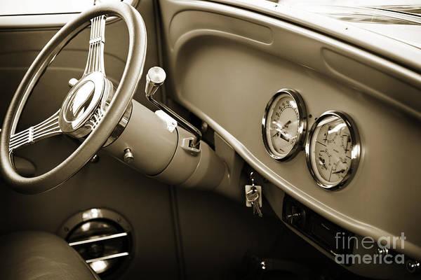 Photograph - 1933 Chevrolet Chevy Sedan Classic Car Intenior In Sepia 3171.01 by M K Miller