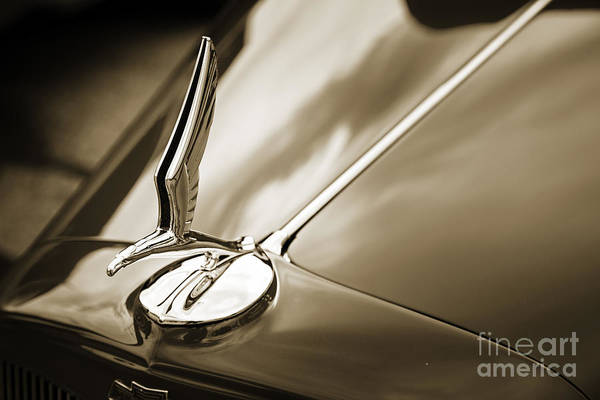 Photograph - 1933 Chevrolet Chevy Sedan Classic Car Radiator Cap In Sepia 316 by M K Miller