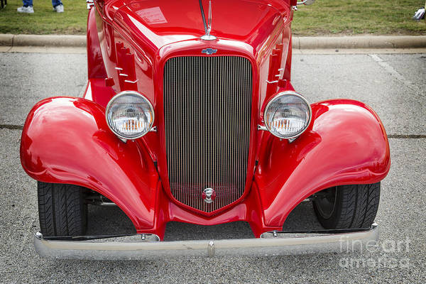 Photograph - 1933 Chevrolet Chevy Sedan Front End Of Classic Car In Color Red by M K Miller