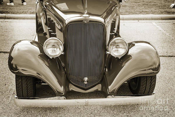 Photograph - 1933 Chevrolet Chevy Sedan Front End Of Classic Car In Sepia 316 by M K Miller