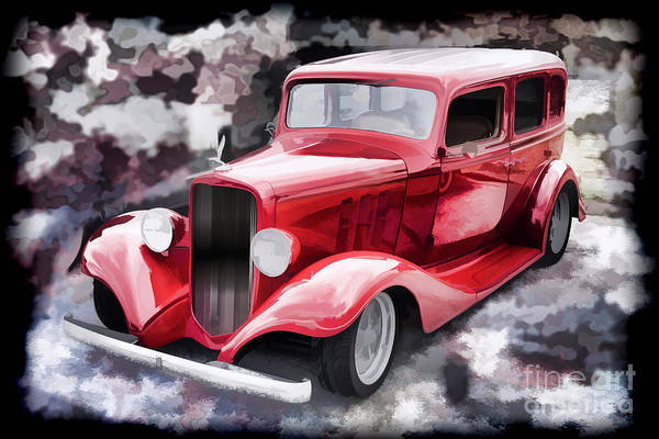 Painting - 1933 Chevrolet Chevy Sedan Painting Of Classic Car In Color Red  by M K Miller