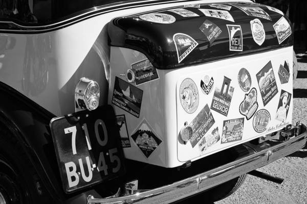 Photograph - 1933 Fiat Balilla Trunk -0168bw by Jill Reger