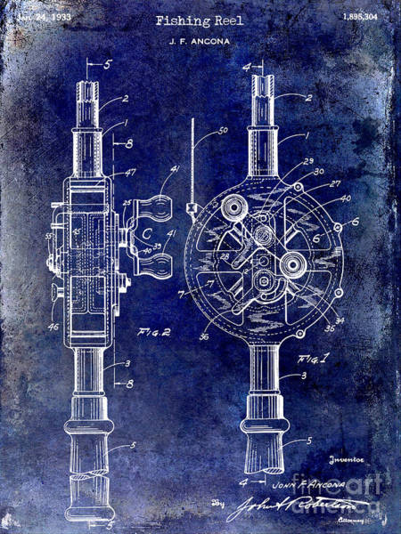Redfish Lake Photograph - 1933 Fishing Reel Patent Drawing by Jon Neidert