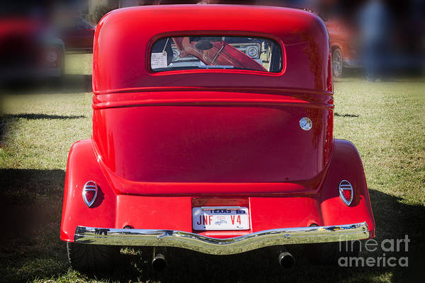 Photograph - 1933 Ford Vicky Automobile Back End Side In Color Red 3028.02 by M K Miller
