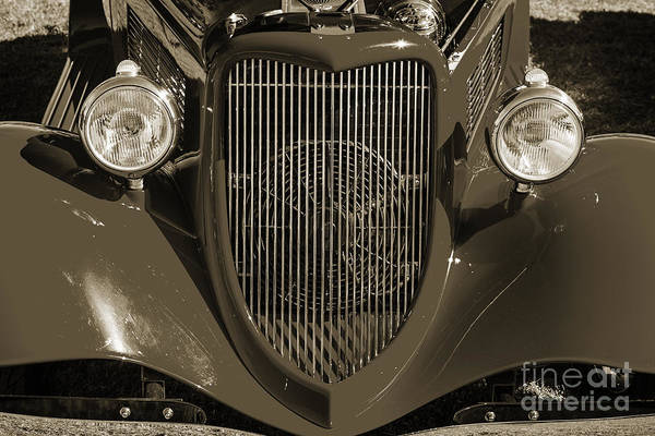 Photograph - 1933 Ford Vicky Automobile  Front End And Grill Sepia 3024.01 by M K Miller