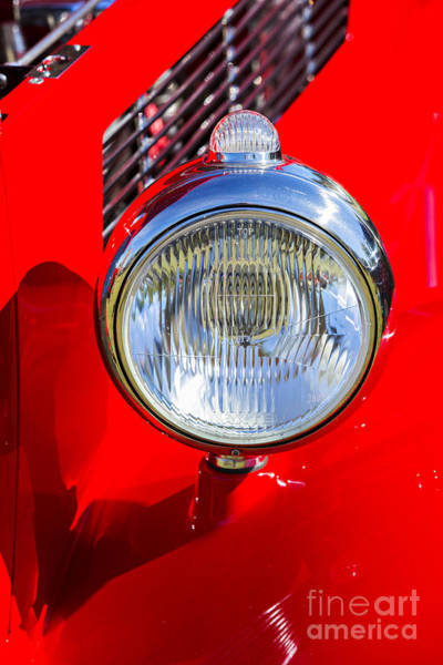 Photograph - 1933 Ford Vicky Automobile Headlight In Red Color 3026.02 by M K Miller