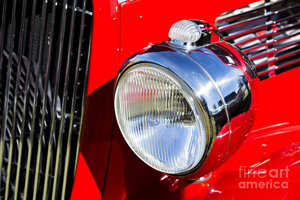 Photograph - 1933 Ford Vicky Automobile Headlight In Red Color 3027.02 by M K Miller