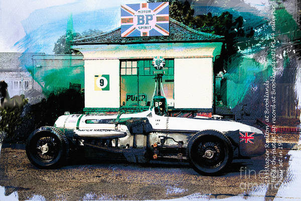Speed Record Mixed Media - 1933 Napier Railton by Roger Lighterness