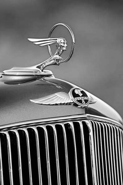 Hood Ornaments Photograph - 1933 Pontiac Hood Ornament - Emblem -0385bw by Jill Reger