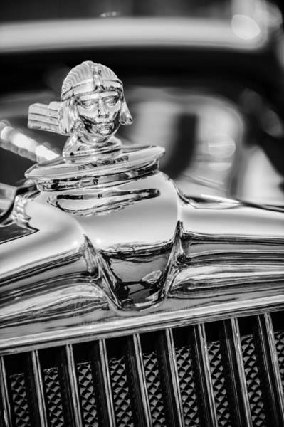 Photograph - 1933 Stutz Sv-16 Five-passenger Sedan Hood Ornament -1050bw by Jill Reger
