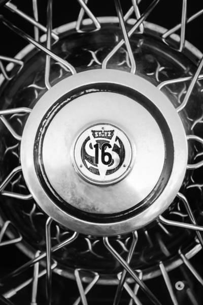 Photograph - 1933 Stutz Sv-16 Five-passenger Wheel Emblem -1046bw by Jill Reger