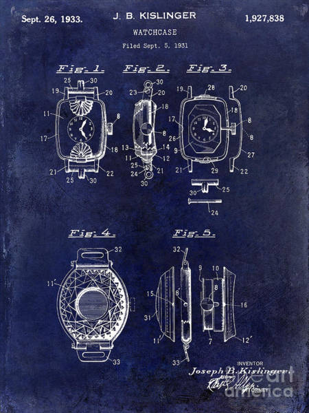 Wall Art - Photograph - 1933 Watch Case Patent Drawing Blue by Jon Neidert