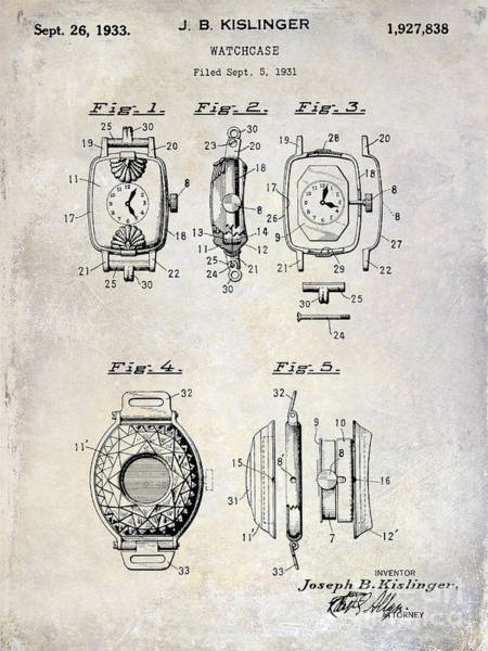 Patent Drawing Wall Art - Photograph - 1933 Watch Case Patent Drawing  by Jon Neidert