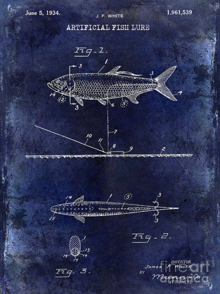 Redfish Lake Photograph - 1934 Artificial Fish Lure Patent Drawing Blue by Jon Neidert