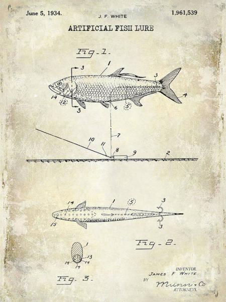 Redfish Lake Photograph - 1934 Artificial Fish Lure Patent Drawing by Jon Neidert