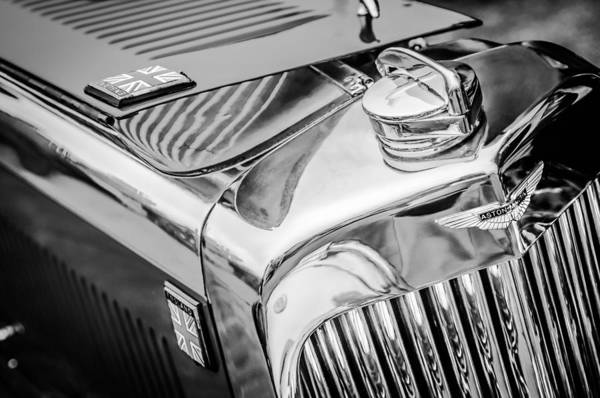 Photograph - 1934 Aston Martin Mark II Short Chassis 2-4 Seater - Grille Emblem -0922bw by Jill Reger