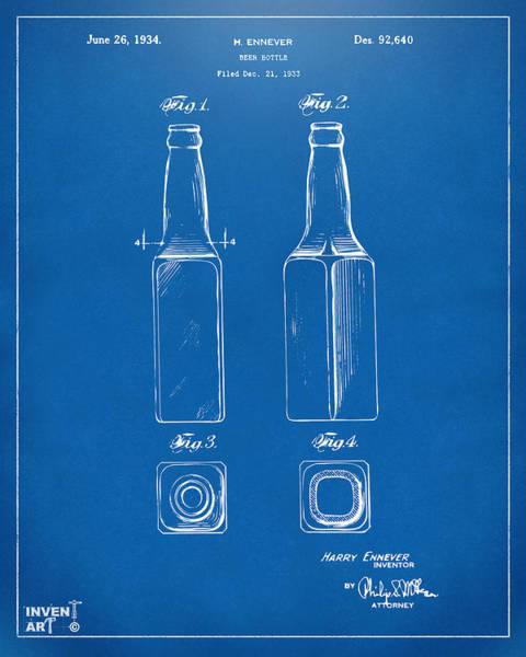 Wall Art - Digital Art - 1934 Beer Bottle Patent Artwork - Blueprint by Nikki Marie Smith