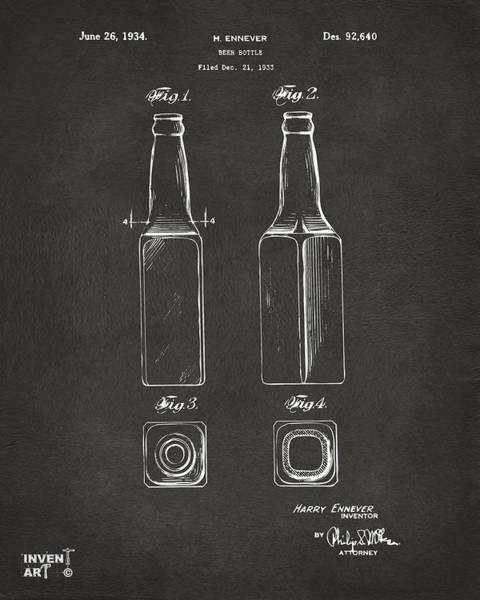 Wall Art - Digital Art - 1934 Beer Bottle Patent Artwork - Gray by Nikki Marie Smith