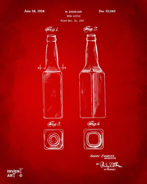 Wall Art - Digital Art - 1934 Beer Bottle Patent Artwork - Red by Nikki Marie Smith