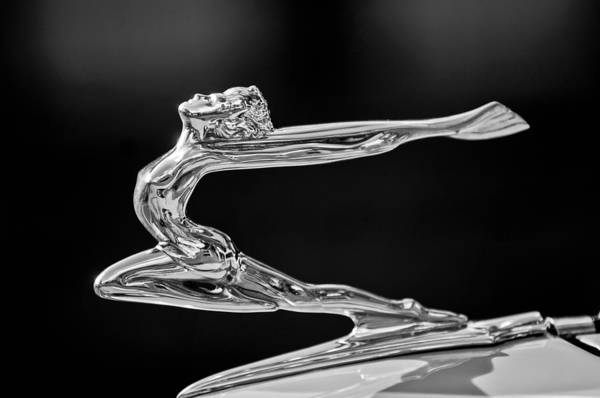 Car Part Photograph - 1934 Buick Goddess Hood Ornament -174bw by Jill Reger