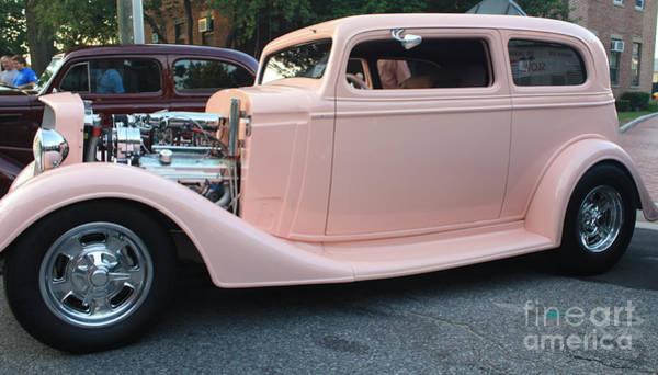 Door To Door Photograph - 1934 Chevy Two Door Pink Lady Sedan Side View by John Telfer