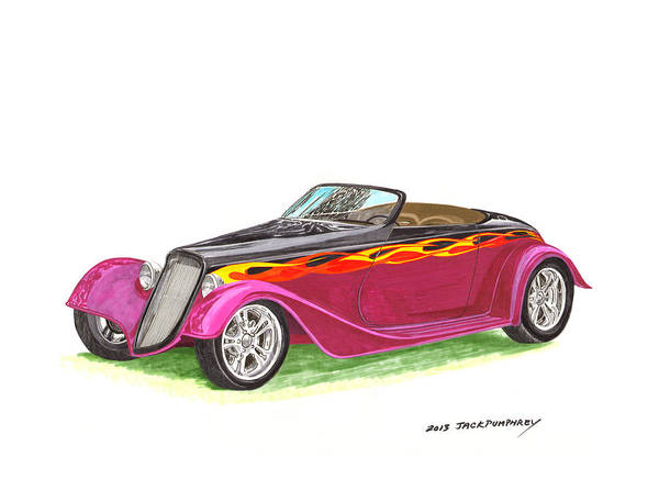 Classic Car Drawings Painting - 1934 Ford Custom Roadster by Jack Pumphrey