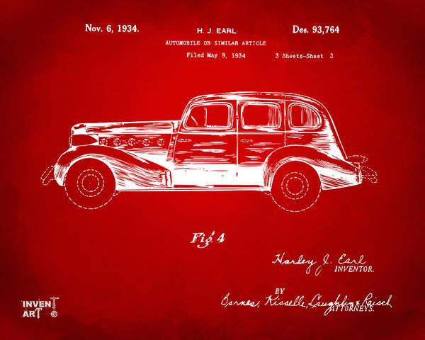 Digital Art - 1934 La Salle Automobile Patent 3 Artwork Red by Nikki Marie Smith