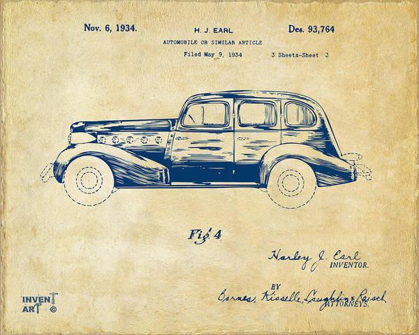 Digital Art - 1934 La Salle Automobile Patent 3 Artwork Vintage by Nikki Marie Smith