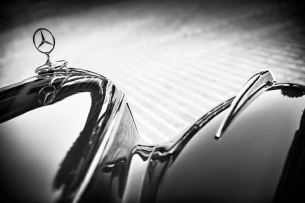 Wall Art - Photograph - 1934 Mercedes-benz 500k Tourer Hood Ornament -1109bw by Jill Reger