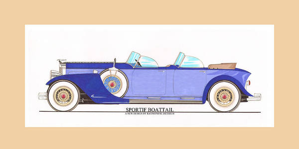 Classic Car Drawings Painting - 1934 Packard Sportif Boattail Concept By Dietrich by Jack Pumphrey
