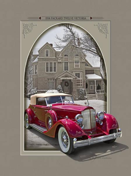 Victorian House Digital Art - 1934 Packard Twelve Victoria by Roger Beltz