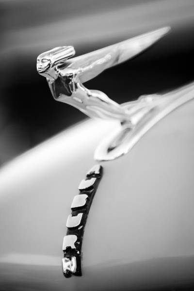 Photograph - 1935 Auburn 851 Supercharged Boattail Speedster Hood Ornament -0852bw by Jill Reger