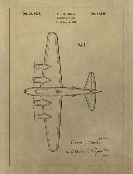 Wall Art - Mixed Media - 1935 Bombing Airplane Patent by Dan Sproul