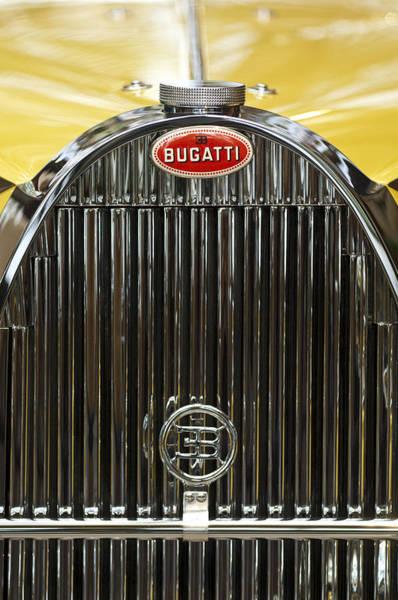 Auto Show Photograph - 1935 Bugatti Type 57 Roadster Hood Emblem by Jill Reger