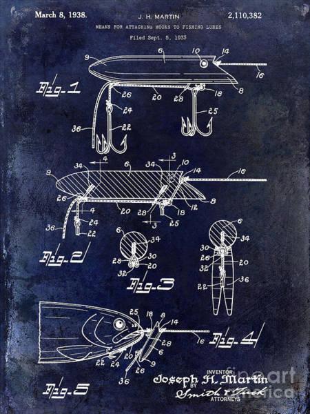 1935 Fishing Lure Patent Blue Art Print