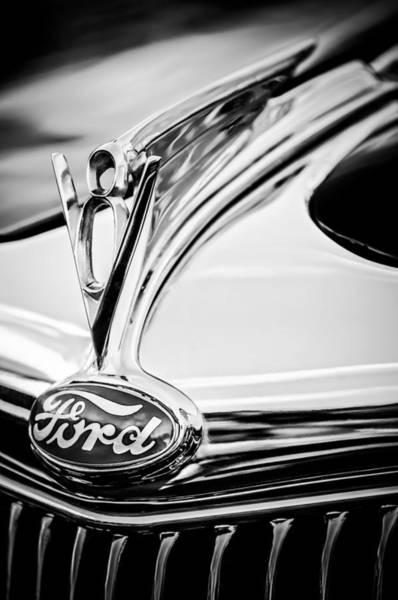 Cabriolet Photograph - 1935 Ford Cabriolet Resto-mod Hood Ornament - Emblem -0842bw by Jill Reger