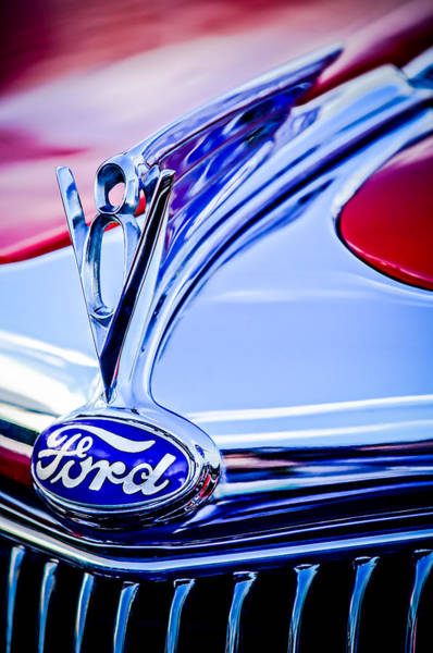 Mod Photograph - 1935 Ford Cabriolet Resto-mod Hood Ornament - Emblem -0842c by Jill Reger