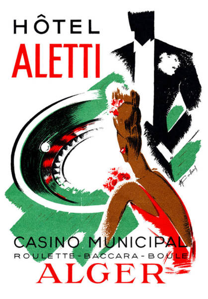 Gaming Painting - 1935 Hotel Aletti Casino Algeria by Historic Image