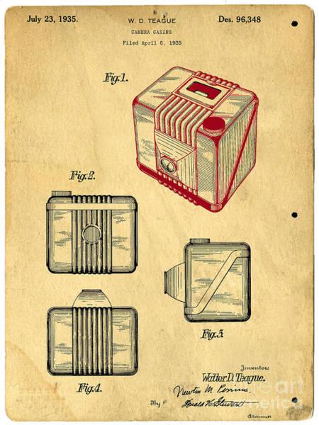 Casing Wall Art - Digital Art - 1935 Kodak Camera Casing Patent by Edward Fielding