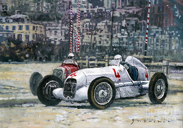 Autosport Wall Art - Painting - 1935 Monaco Gp Mercedes-benz W25 #4 L. Fagioli Winner  by Yuriy Shevchuk