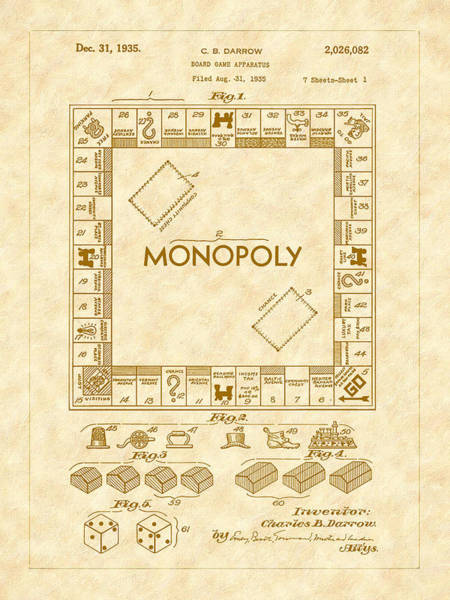 Photograph - 1935 Monopoly Board Game Patent Art by Barry Jones