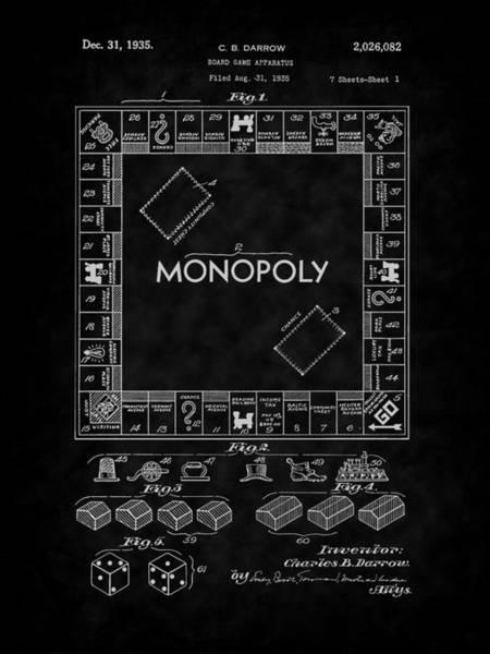 Digital Art - 1935 Monopoly Board Game Patent-bk by Barry Jones