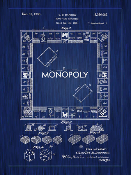 Photograph - 1935 Monopoly Board Game Patent-blue by Barry Jones