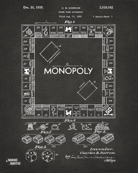 Den Digital Art - 1935 Monopoly Game Board Patent Artwork - Gray by Nikki Marie Smith